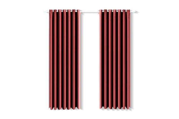 2x Blockout Curtain 3 Layers Eyelet Fabric Room Darkening 140x160cm Burgundy