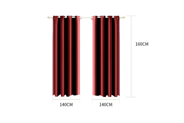 2x Blockout Curtain 3 Layers Eyelet Fabric Room Darkening 140x160cm Burgundy