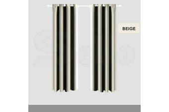 2x Blockout Curtain 3 Layers Eyelet Pure Fabric Room Darkening 140x160cm Cream
