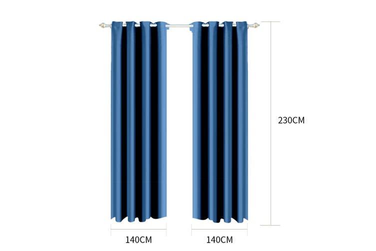 2x Blockout Curtains Panels Blackout 3 Layers Eyelet Room Darkening  140x230cm