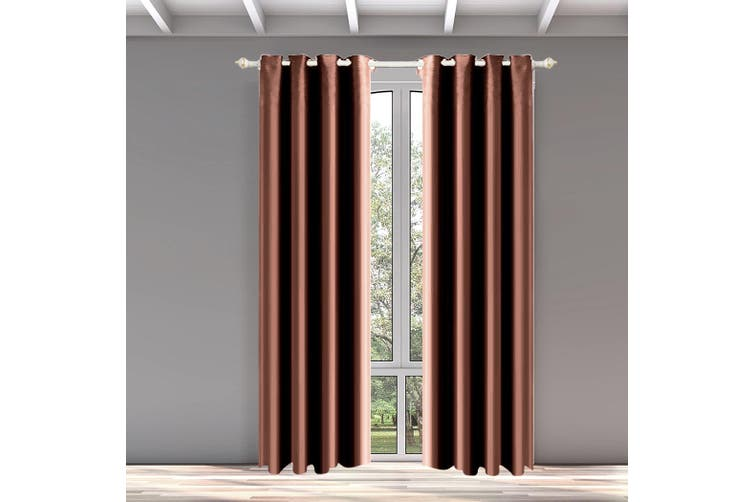 DreamZ Blackout Eyelet Curtains Blockout Curtain Bedroom Darkening Fabric Pair