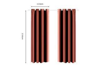 2x Blockout Curtain 3 Layers Eyelet Fabric Room Darkening 140x244cm Chocolate