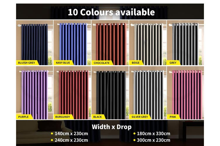 Deluxe Blockout Curtain 3 Layers Eyelet Room Single Pannel Purple 180x230cm