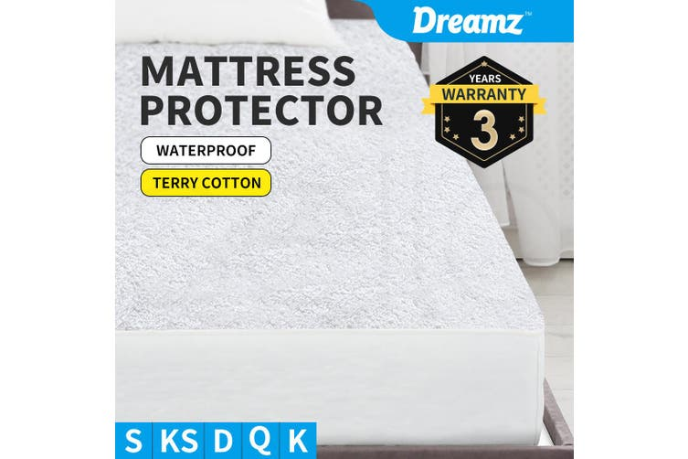 DreamZ Terry Cotton Fully Fitted Waterproof Mattress Protector in King Size