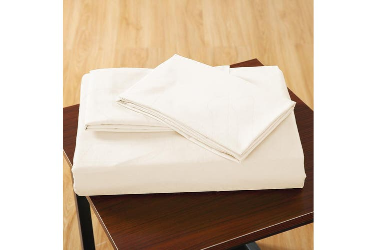 DreamZ Ultra Soft Fitted Bed Sheet with two Pillow Cases King Size Cream
