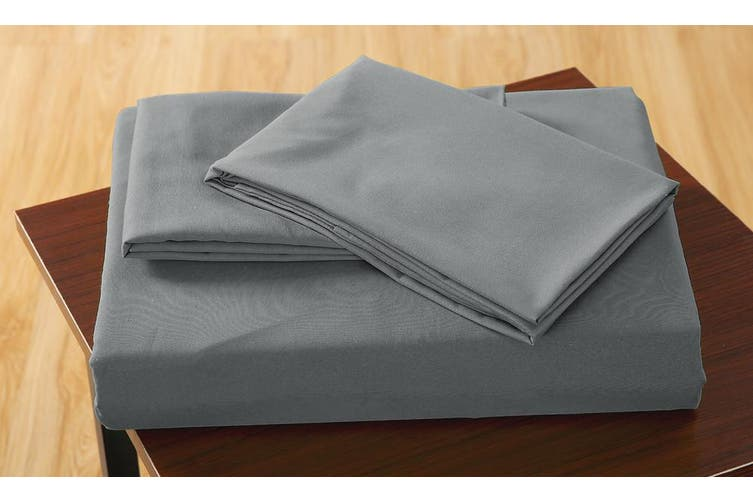 DreamZ Ultra Soft Fitted Bed Sheet with two Pillow Cases King Size Grey