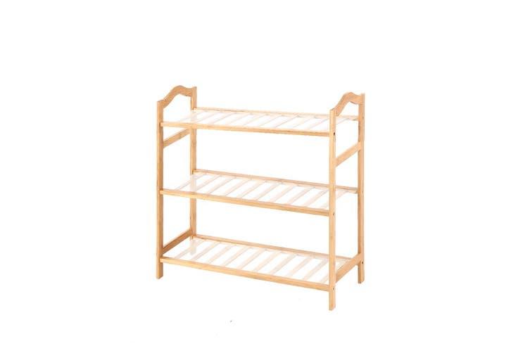 Levede Bamboo Shoe Rack Storage Wooden Organizer Shelf Shelves Stand 3 Tier 70cm