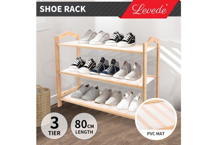 Levede Bamboo Shoe Rack Storage Wooden Organizer Shelf Shelves Stand 3 Tier 80cm