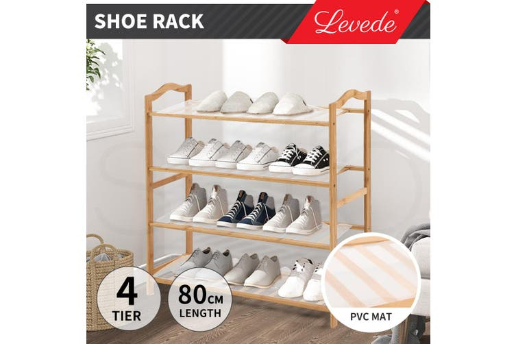 Levede Bamboo Shoe Rack Storage Wooden Organizer Shelf Shelves Stand 4 Tier 80cm