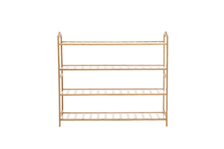 Levede Bamboo Shoe Rack Storage Wooden Organizer Shelf Shelves Stand 4 Tier 90cm