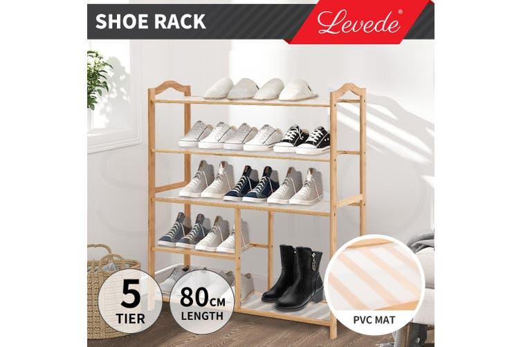 Levede Bamboo Shoe Rack Storage Wooden Organizer Shelf Shelves 5 Tier Boot Rack