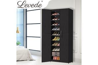 Levede Shoe Storage Cabinet Portable Organiser Shoes Rack Wardrobe Black Cover