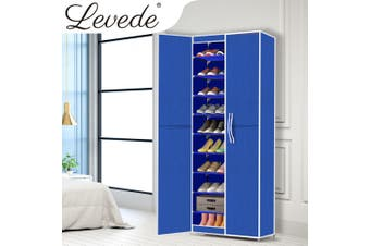 Levede Shoe Storage Cabinet Portable Organiser Shoes Rack Wardrobe Blue Cover