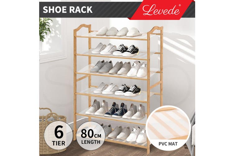 Levede Bamboo Shoe Rack Storage Wooden Organizer Shelf Shelves Stand 6 Tier 80cm