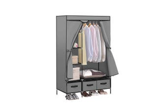 Levede Portable Clothes Closet Wardrobe Grey Storage Cloth Organiser Unit Shelf Rack
