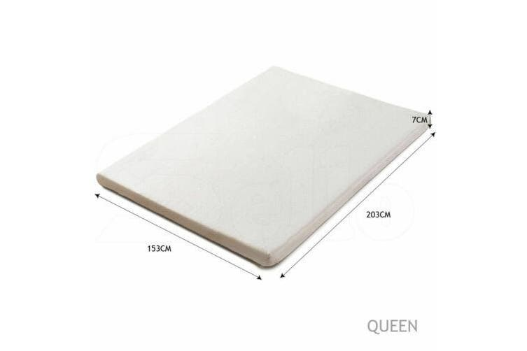 DreamZ 7cm Memory Foam Bed Mattress Topper Polyester Underlay Cover Single