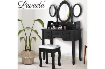 Levede Dressing Table&Stool 3 Mirror Jewellery Cabinet 7 Drawer Makeup Organiser