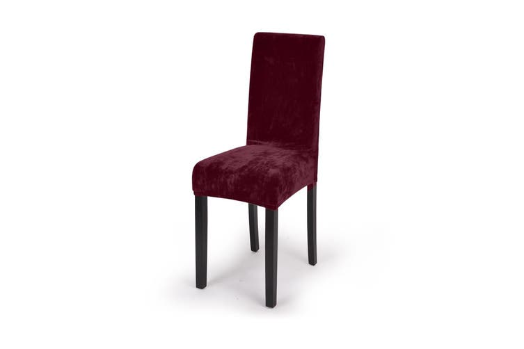 8x Stretch Plush Dining Chair Cover Seat Covers Protectors Slipcovers Burgundy Brown,Blue,Beige,Burgundy,Black,Grey,Chocolate
