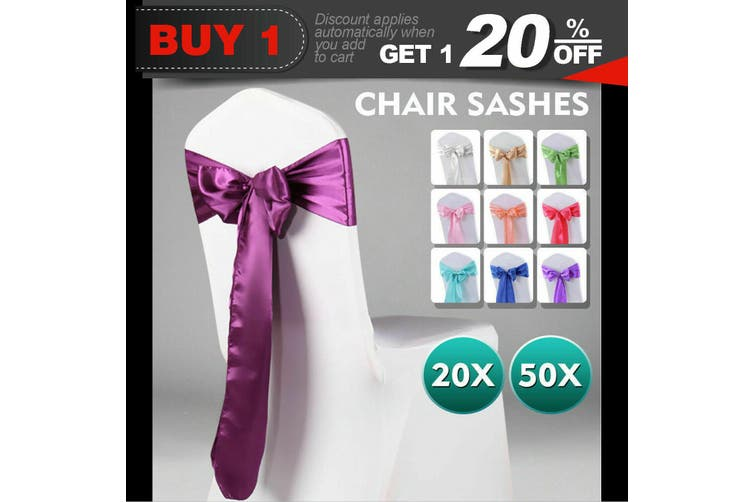 50x Satin Chair Sashes Cloth Cover Wedding Party Event Decoration Table Runner