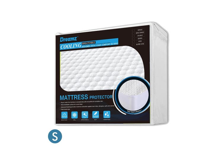 DreamZ Mattress Protector Topper Polyester Cool Fitted Cover Waterproof Single