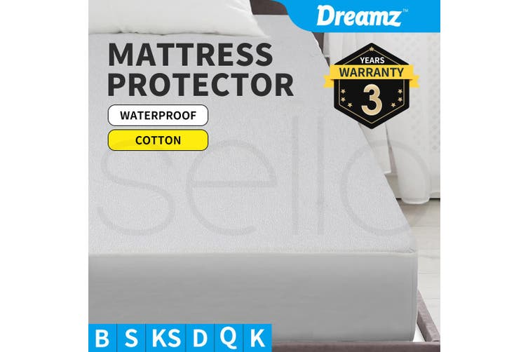 DreamZ Mattress Protector Fitted Sheet Cover Waterproof Cotton Fibre King Single