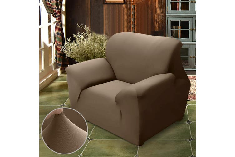 Easy Fit Stretch Couch Sofa Slipcovers Protectors Covers 1 Seater Taupe