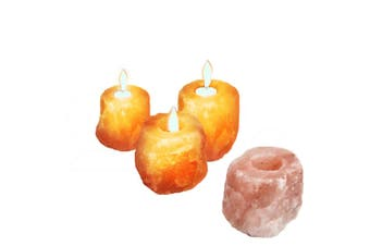 4x New Himalayan Salt Tealight Candle Holder Decor Natural Crystal Ionizer Home