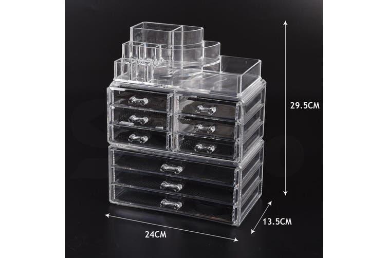 9 Drawer Clear Acrylic Cosmetic Makeup Organizer Jewellery Storage Box