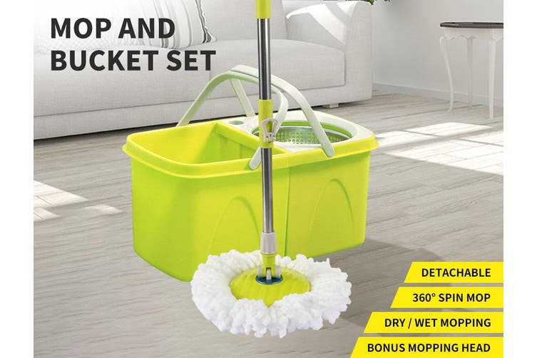 Spin Mop Bucket Set 360° Spinning Stainless Steel Rotating Wet Dry Microfiber AU