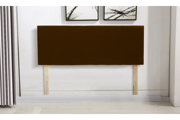 Levede PU Leather Bed Headboard with Wooden Legs in Double Size in Brown Colour