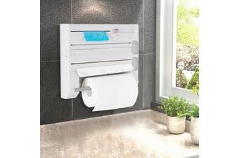 6in1 Wall Mounted Kitchen Rack Towel Holder Foil Roll Organizer Film Dispenser
