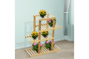 4 Tiers Premium Bamboo Wooden Plant Stand In/outdoor Garden Planter Flower shelf