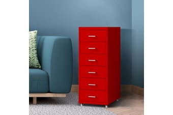 Filing Cabinet Storage Cabinets Steel Metal Home Office Organise 6 Drawer Red