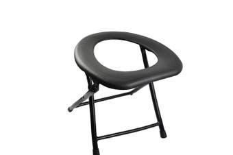 Camping Toilet Chair Portable Folding Seat Toilets Caravan Outdoor Travel Black