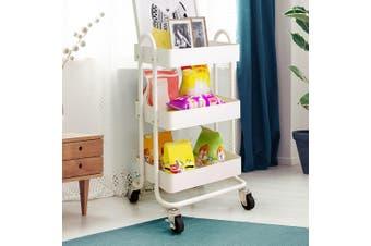 3 Tiers Kitchen Trolley Cart Steel Storage Rack Shelf Organiser Wheels White