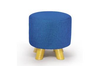 Luxury Chic Fabric Ottoman Foot Stool Rest Pouffe Footstool Padded Seat Wood Bay Blue