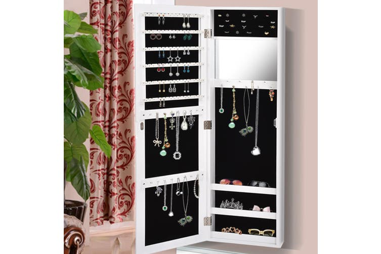 Levede Wall Mounted Mirrored Jewellery, Mirrored Jewellery Cabinet Wall Mounted