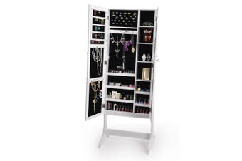 Levede Mirrored Jewellery Dressing Cabinet with Two Doors in White Colour