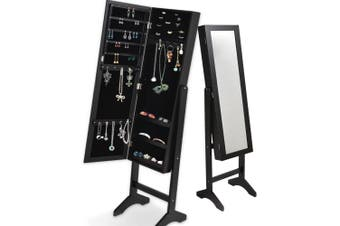 Levede Free Standing Mirrored Jewellery Dressing Cabinet in Black Colour