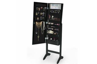 Levede Full Length Standing Mirror Jewellery Dressing Cabinet  LED Light Black