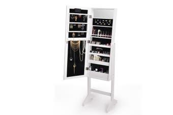 Levede Full Length Standing Mirror Jewellery Dressing Cabinet  LED Light White