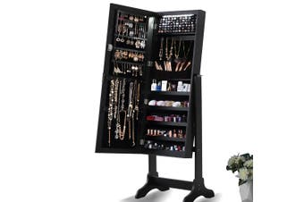 Levede Dual Use Mirrored Jewellery Dressing Cabinet with LED Light Black Colour