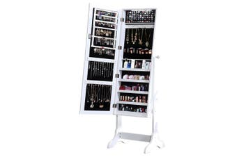 Levede Dual Use Mirrored Jewellery Dressing Cabinet with LED Light White