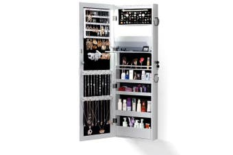 Levede Dual Use Mirrored Jewellery Dressing Cabinet LED Light White