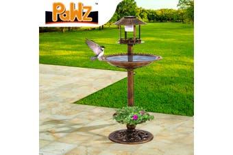 Ornamental Solar Light Garden Ornaments Bird Bath Feeder Feeding Food Station