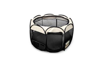 PaWz Pet Soft Playpen Dog Cat Puppy Play Round Crate Cage Tent Portable L Black