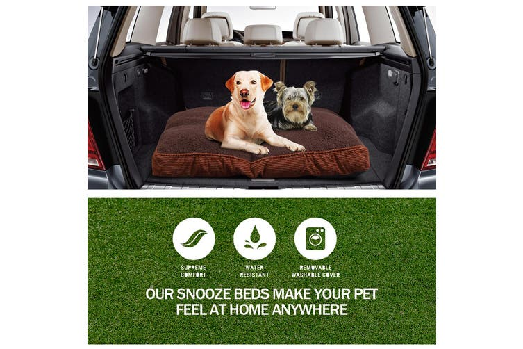 PaWz Pet Bed Mattress Dog Cat Pad Mat Puppy Cushion Soft Warm Washable L Brown