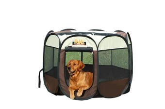 PaWz Dog Playpen Pet Play Pens Foldable Panel Tent Cage Portable Puppy Brown 30""