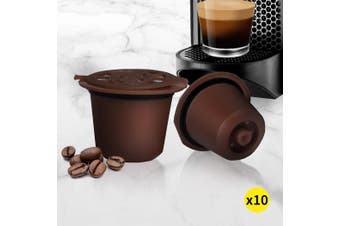 10x Refillable Reusable Coffee Filter Capsules Pods Pod for Nespresso Brown
