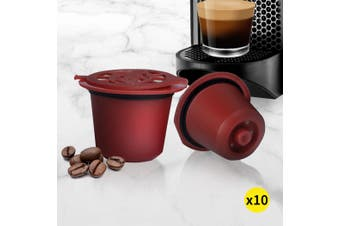 10x Refillable Reusable Coffee Filter Capsules Pods Pod for Nespresso Red